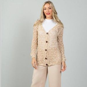 Crochet Knitted Button Front Cardigan